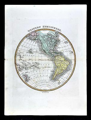 1839 Bell Atlas Map World Western Hemisphere North South America Pacific Ocean