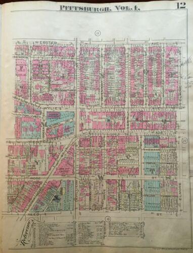 1923 PITTSBURGH PA CRAWFORD ROBERTS HILL HEBREW INSTITUTE ATLAS MAP