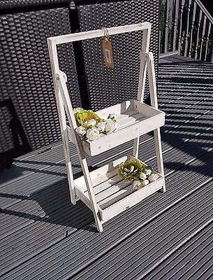 2 TIER WHITE LADDER SHELF UNIT DISPLAY STAND FLOWER/PLANT RACK HOME GARDEN SHOP