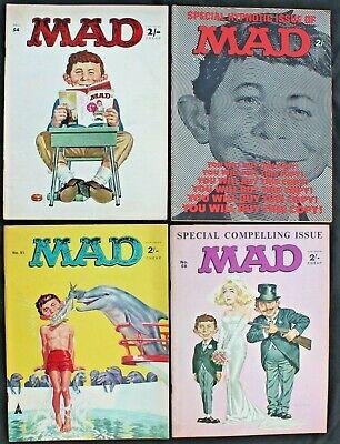 Mad Magazine 51, 53, 54 & 58.  lot of 4 fn/vfn UK 1966 B & W Silver Age Comics