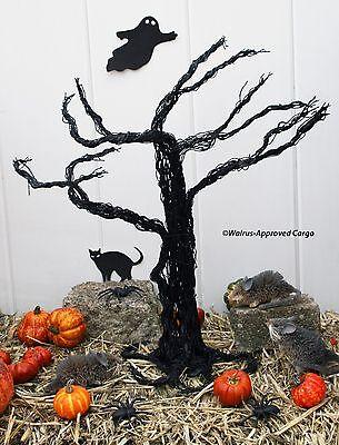 CRATE & BARREL HALLOWEEN HAUNTED TABLETOP TREE -NWT- BENDABLE, FRIGHTFUL DELIGHT - Black Tabletop Halloween Tree
