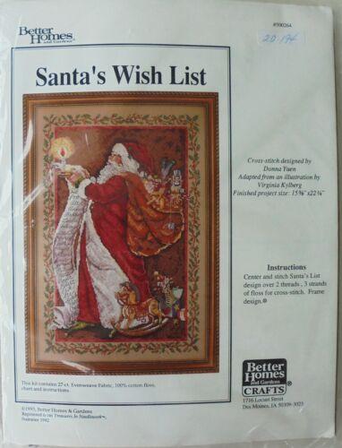 "Better Homes & Garden Santas Wish List 15 5/8"" x 22 1/4"" Cross Stitch Kit Sealed"