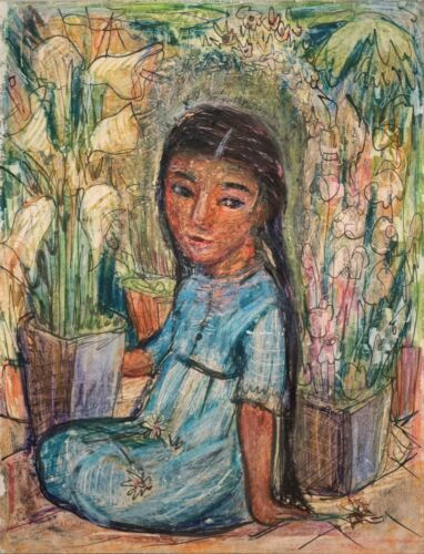 """Mario Parial Original Painting """"young Girl With Flowers"""" Signed & Beautiful!"""
