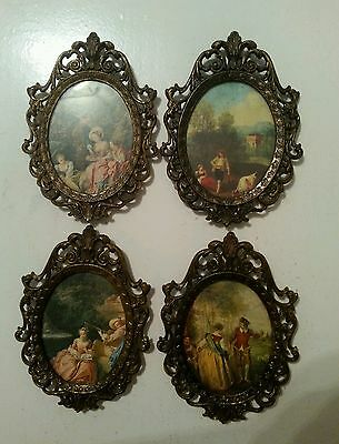 Vintage Italian Picture Frame Metal Ornate Oval With Victorian Print set of 4