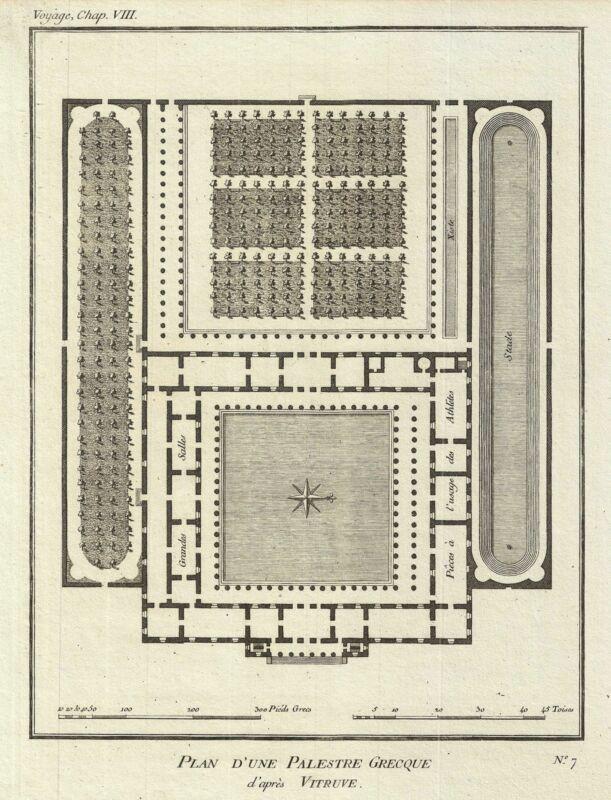 1791 Bocage Plan of an Ancient Greek Gymnasium School