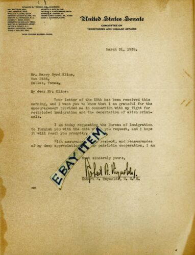 1939 letterhead ROBERT R. REYNOLDS North Carolina UNITED STATES SENATE politicaL