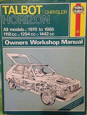 Haynes 473Talbot Chrysler Horizon1978 86All Models   111812941442cc