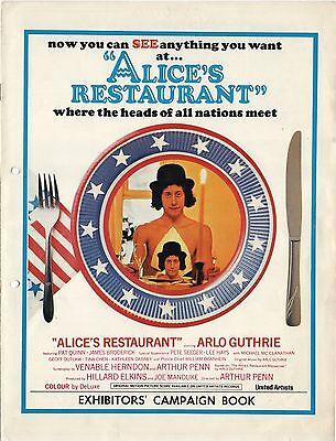 ALICE'S RESTAURANT 1969 Arlo Guthrie Arthur Penn UK PRESSBOOK & 3 STILLS