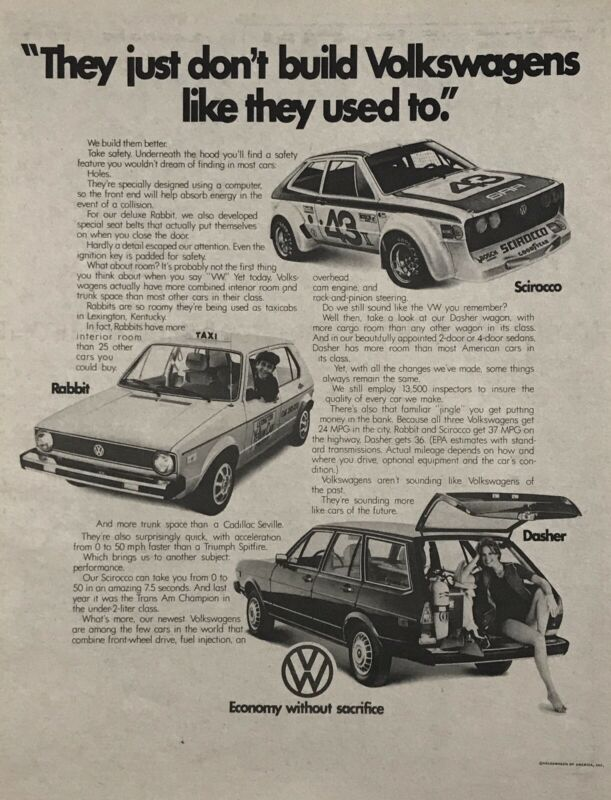 "1977 VW Volkswagen Scirocco, Rabbit & Dasher B&W Newspaper Print Car Ad 11""x14"""