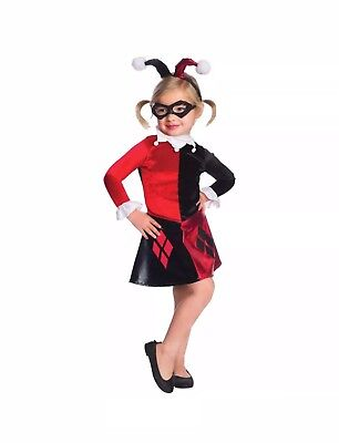 Batman Harley Quinn Costume Girl's Large NWT Red Black DC Comics Dress Choker (Girl Batman Costumes)