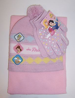 DISNEY PRINCESS KNIT HAT Beanie GLOVES Glove SCARF SET Cinderella Belle Aurora -