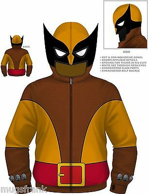 Wolverine Brown Wolf Costume Marvel Zip up Eye Holes Hoodie Jacket Shirt S Small - Marvel Beast Costume