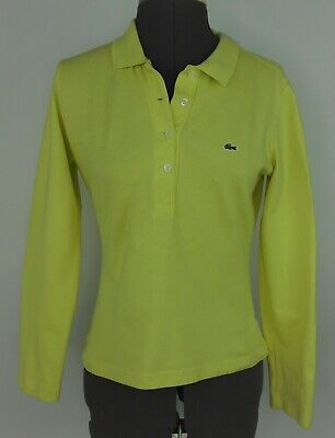 Lacoste Womens shirt polo top Sz 40 M light green cotton long sleeves