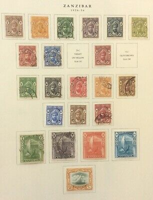 Zanzibar. 1926-1936 Sg299-322 Used And Mint Hinged On Scott Page. Cv136 In 2017