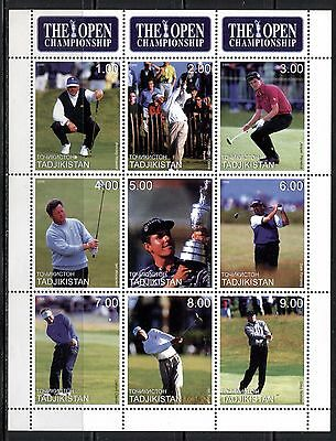 SPORT: FAMOUS GOLF PLAYERS ON TAJIKISTAN 2001, SHEET OF 9 DIFFERENT, MNH