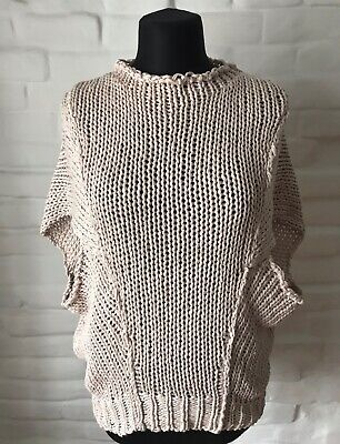 ISABEL BENENATO Women's Sweater Knitted Beige Size 40 Made In Italy!