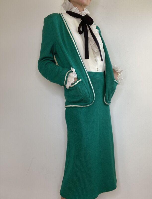 Vintage 60s Chanelesque Gucciesque suit set skirt jacket boucle+ Velvet Dress