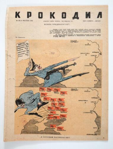 1943 Russian WW2 War time Humor Propaganda magazine KROKODIL #38 Hitler cover