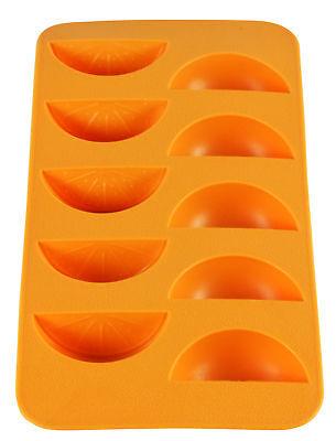 Orange Slice Shape Flexible 10 Ice Cube Tray Mold Silicone Novelty Gag Gift - Orange Ice Cubes