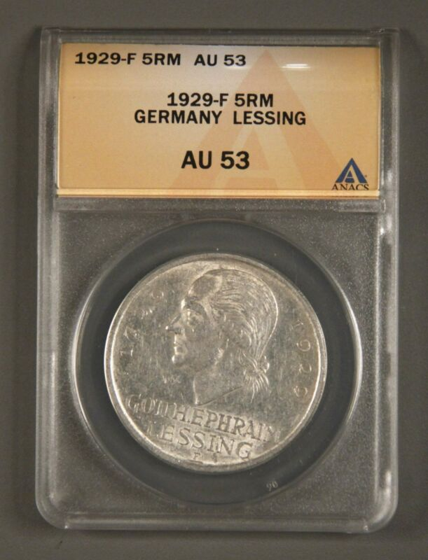1929-F Weimar Germany 5 ReichsMark ANACS AU53 KM# 61 200th Anniv Lessing