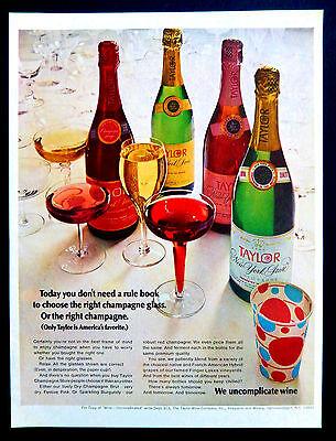 Vtg 1968 Taylor New York State Champagne retro advertisement print ad art