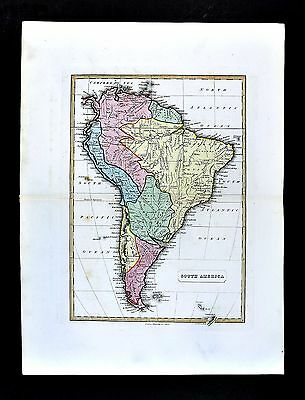 1839 Bell Map South America Brazil Argentina Patagonia Peru Chile Colombia Rio
