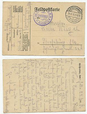 06512 FELDPOSTKARTE X ARMEEKORPS 29 6 1916 NACH STRA BURG