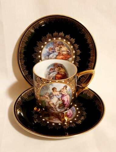 Germany MITTERTEICH Demitasse Portrait Cup/Saucers (2) - Cozy Classical Women