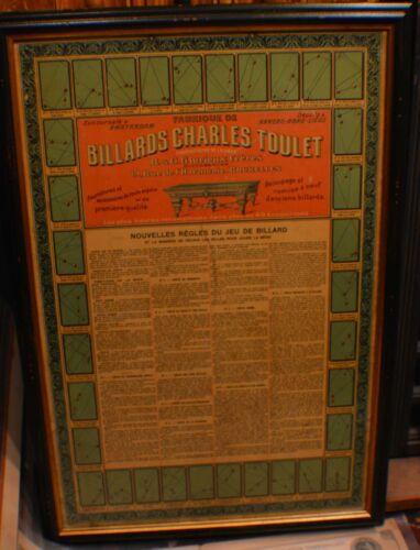 Antique Pool/Brunswick/Billiard/Table Belgium Chromo Litho Original Rules Poster