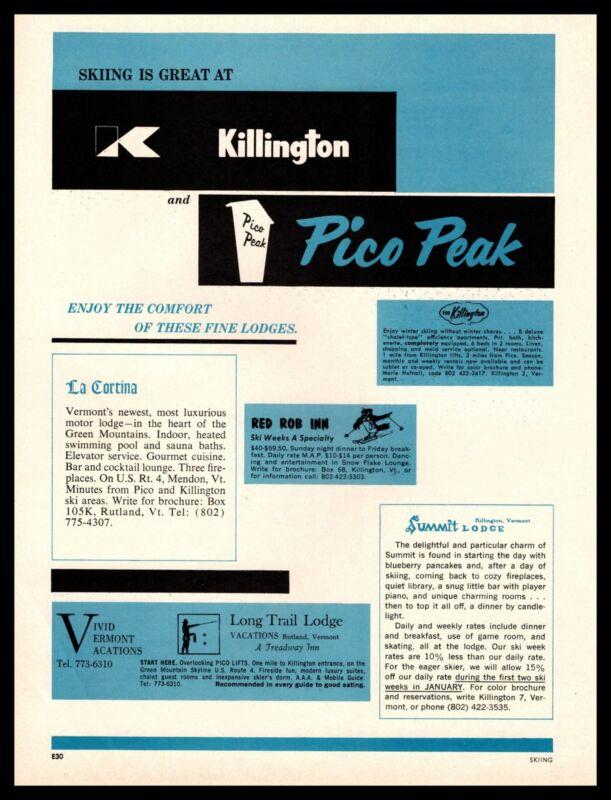 1966 Killington Vermont Pico Peak Ski Resorts Long Trail Summit Lodges Print Ad