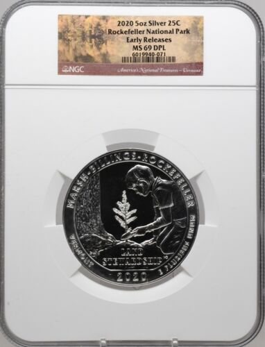 2020 5oz SILVER 25C Rockefeller National Park NGC MS 69 DPL Early Releases!