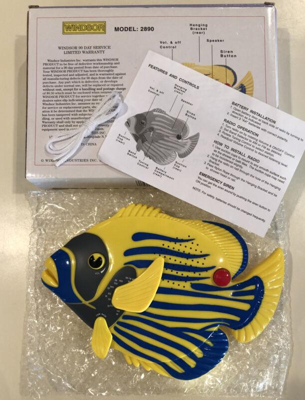 New In Box  Angel Fish AM/FM Waterproof Shower Radio w/Button Emergency Alarm