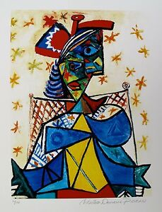 Pablo-Picasso-SEATED-WOMAN-WITH-RED-HAT-Estate-Signed-Numbered-Small-Giclee