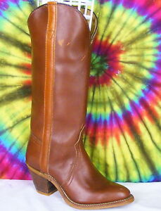 5-5-M-vintage-80s-brown-leather-western-stacked-heel-cowboy-boots-NOS