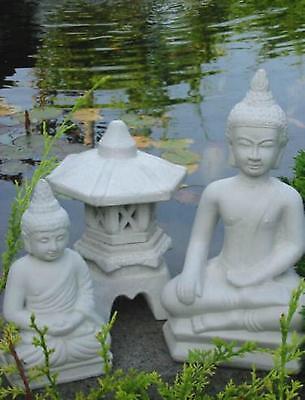 2 x BUDDHA + japanische Steinlaterne KL Gartenteich