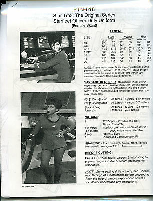 NEWLY REVISED Star Trek TOS Uhura Uniform Pattern Dress - PTN-018: 8 piece style
