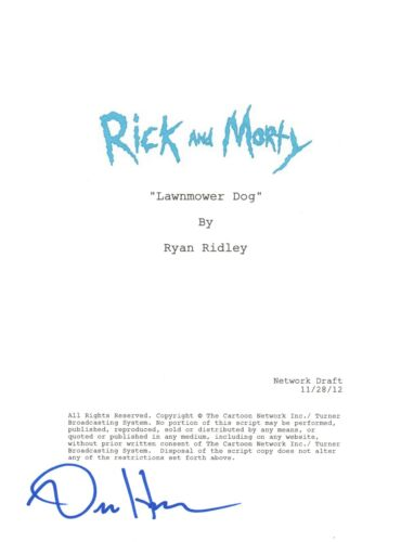 "Dan Harmon Signed Autographed Rick and Morty ""Lawnmower Dog"" Episode Script COA"