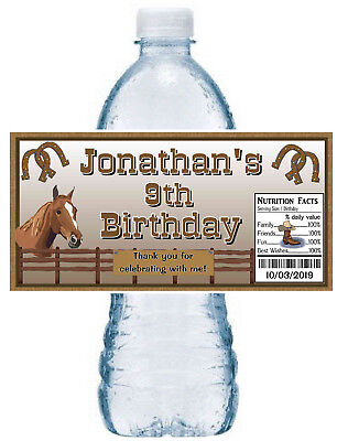 20 COUNTRY WESTERN COWBOY BIRTHDAY PARTY FAVORS WATER BOTTLE LABELS