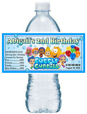 20 BUBBLE GUPPIES BIRTHDAY PARTY WATER BOTTLE LABELS ~ waterproof ink](Bubble Guppies Birthday)