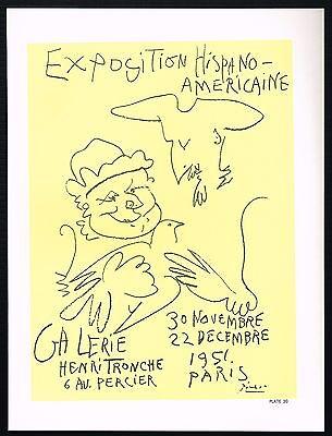 1960s Vintage Pablo Picasso 1951 Hispano Americaine Exposition Poster Art Print