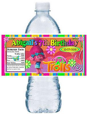 20 TROLLS POPPY BIRTHDAY PARTY FAVORS WATER BOTTLE LABELS ~ waterproof ink - Bottle Labels