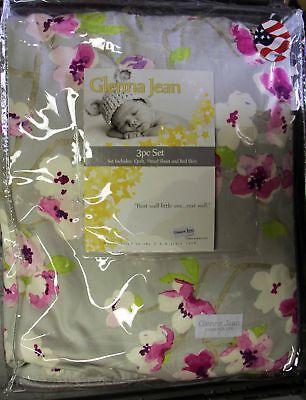 Glenna Jean Blossom 3 PC Crib Bedding Set (Quilt, Sheet and Skirt) Glenna Jean Baby Bedding Flower