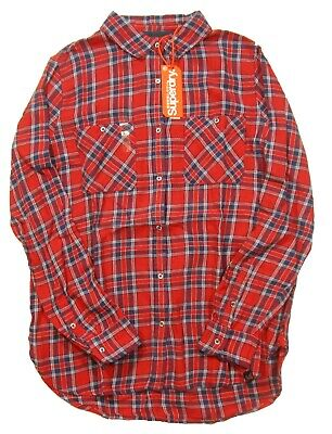Superdry Women's Fairfield Red Utility Check Boyfrined Button Front Shirt