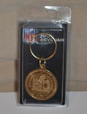 SUPER BOWL 50 2015 NFL Flip Coin Key Ring Chain PANTHERS BRONCOS Highland Mint  - Nfl Coin Flip
