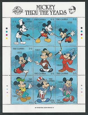 GAMBIA # 814 DISNEY'S Mickey Through The Years Fantasia