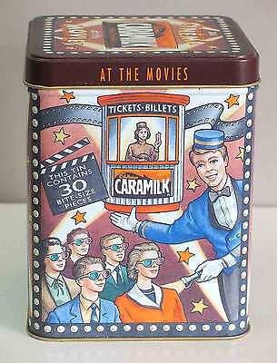 """Cadbury's CARAMILK 6"""" Candy Tin Advertising AT THE MOVIES FREE SH"""