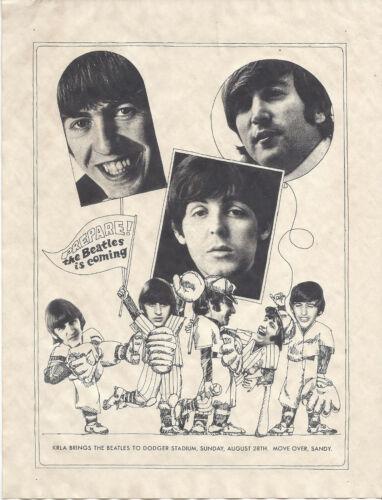 Beatles 1966 Rare Original Next to last Concert Handbill LA. Calif.