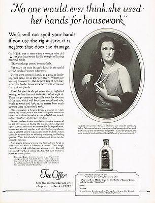 1920's BIG Vintage Jergens Lotion Lady Fashion Art Print Ad