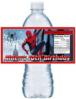 Spiderman Birthday Favors (20 SPIDERMAN BIRTHDAY PARTY FAVORS Water Bottle Labels - waterproof)