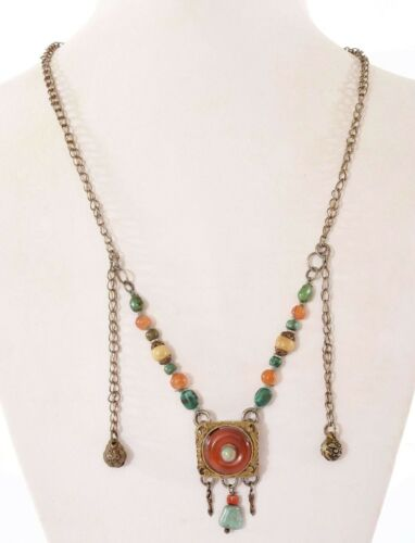 Old Chinese Silver Agate Carved Carving Pendant Turquoise Bead Charms Necklace